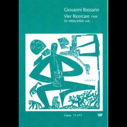 Bassano - Quatre Ricercata pour flûte à bec alto