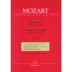 Mozart - Concerto sib majeur KV191 pour basson et piano - Barenreiter