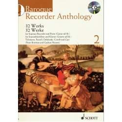 32 oeuvres pour flûte à bec soprano vol 2 - accomp, piano/guitare - baroque + CD